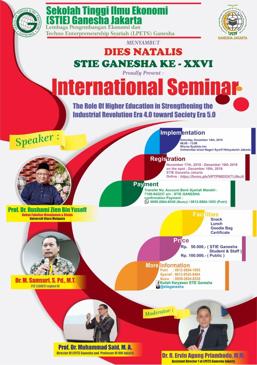 """STIE Ganesha Akan Adakan Seminar International, """"Peran Perguruan Tinggi Dalam Penguatan Era Revolusi Industri 4.0 Menuju Era Society 5.0"""""""