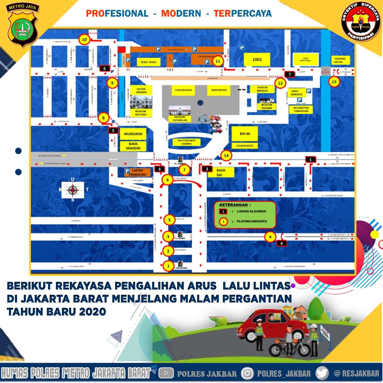 Jelang Pergantian Tahun Baru 2020,  Arus  Lalin di Jakarta Barat Alami Rekayasa