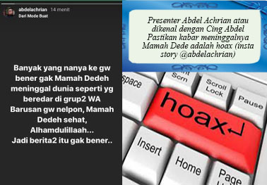 Kabar Mama Dedeh Meninggal Hoax, Yang Meninggal Dedeh Syahrawati Istri Mantan Wakgub Banten, Mohammad Masduki