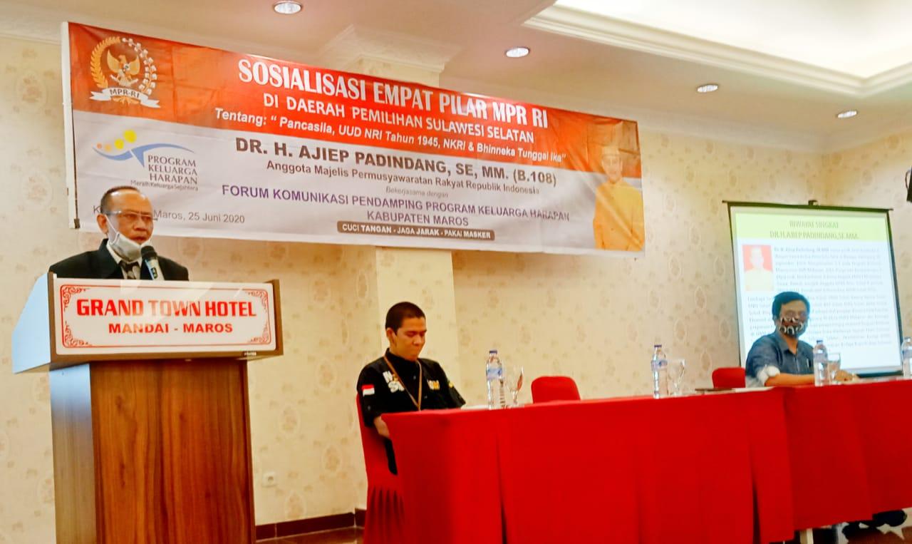 H.Ajiep Padindang Anggota MPR/DPD RI Lakukan Sosialisasi Empat Pilar di Kabupaten Maros