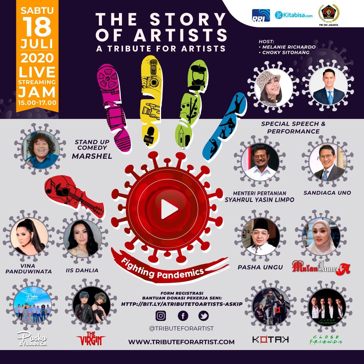 """Sandiaga Uno dan Syahrul Yasin Limpo Meriahkan Aksi Konser Amal PWI Jaya & Asosiasi Pekerja Seni """"The Story Of Artist"""""""