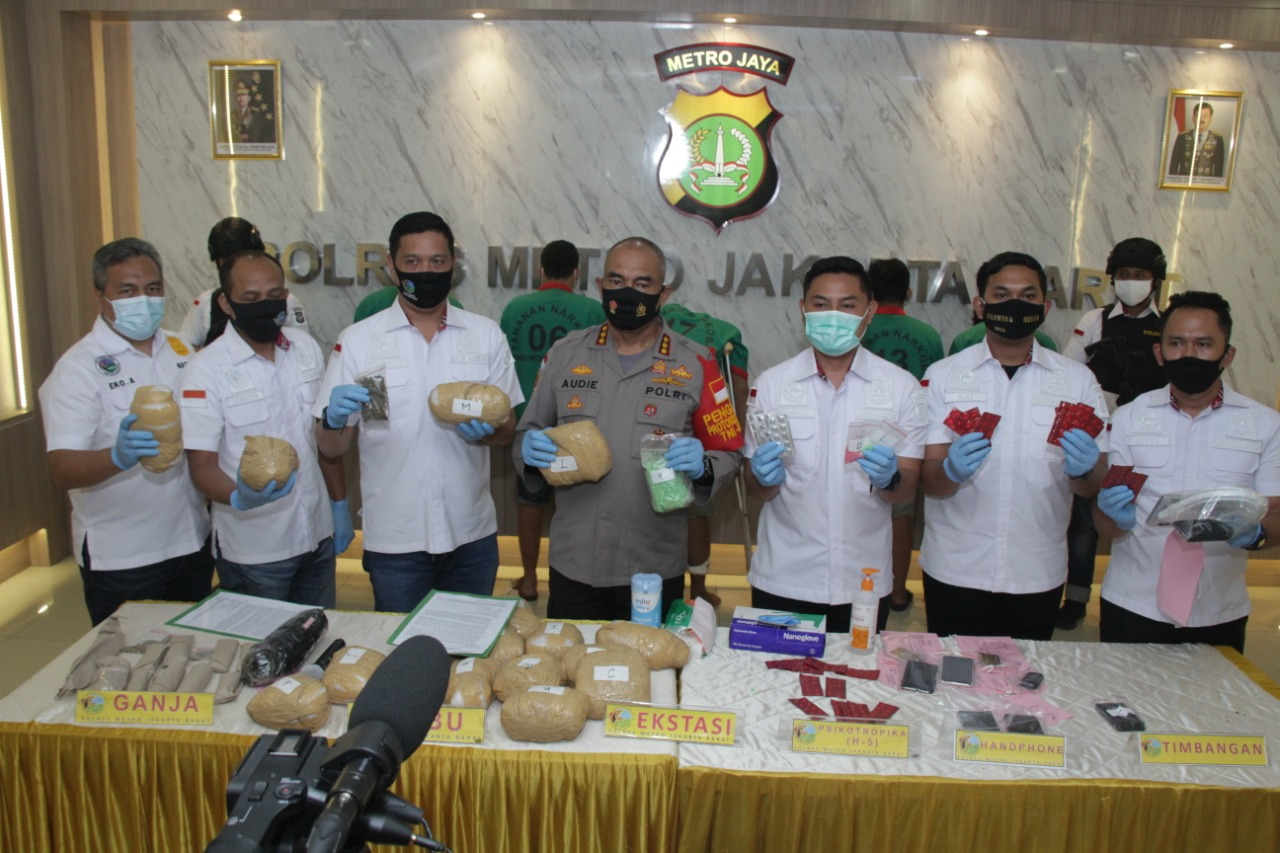 Polres Metro Jakarta Barat Kurun Waktu Seminggu Gagalkan 3 Peredaran Gelap Narkoba