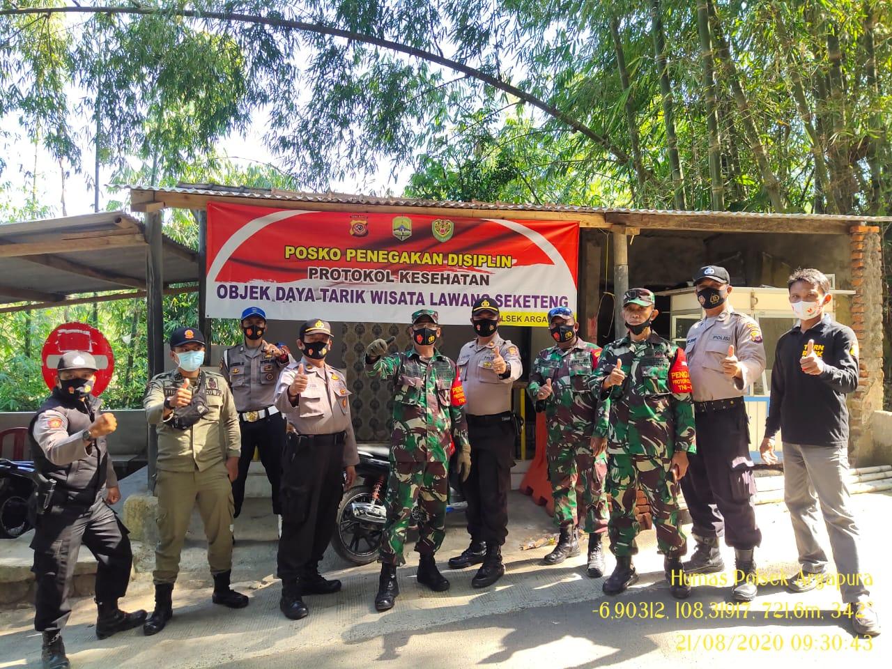 Patroli Obyek Wisata, Polsek Argapura Bersama Muspika Bagikan Masker Gratis dan Sampaikan Protokol Kesehatan