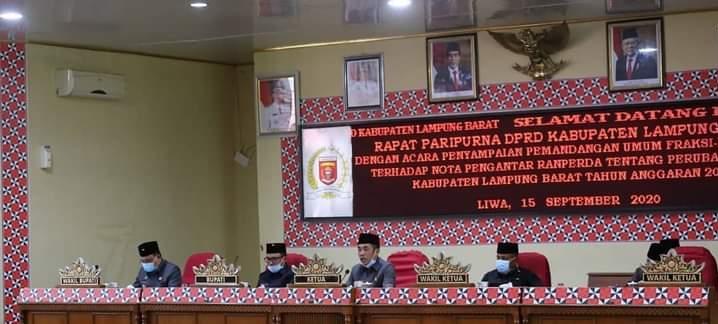 Rapat Paripurna DPRD Lambar Penyampaian Pandangan Umum Fraksi-Fraksi Nota pengantar Raperda APBD Perubahan
