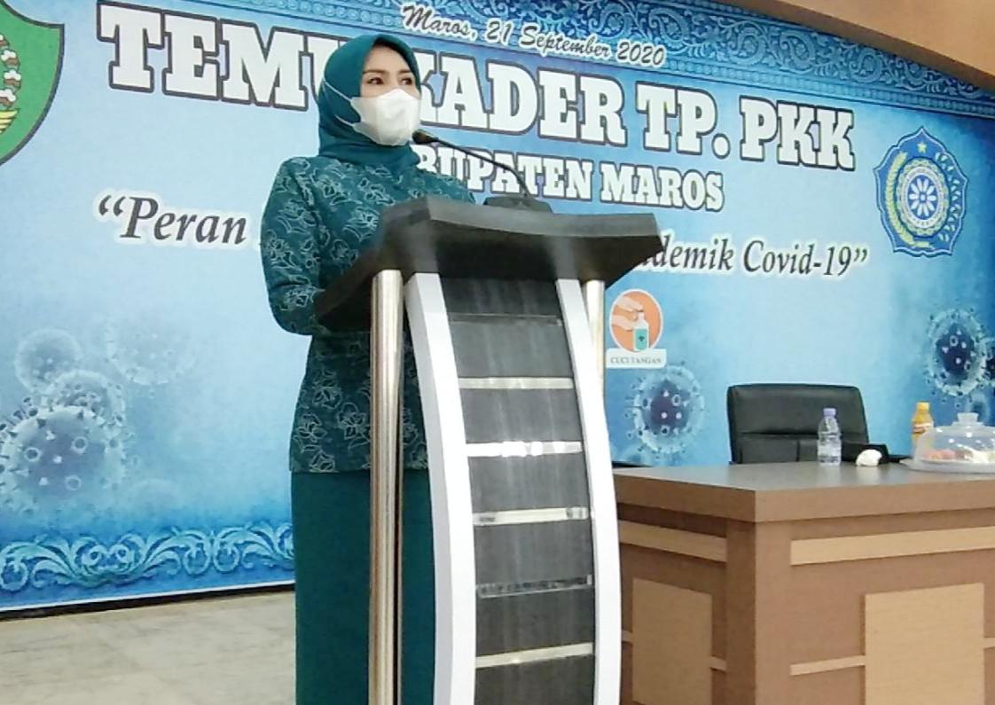 Ketua TP PKK Kabupaten Maros Himbau Seluruh Kader PKK dan Posyandu Patuhi Protokol Kesehatan Covid 19