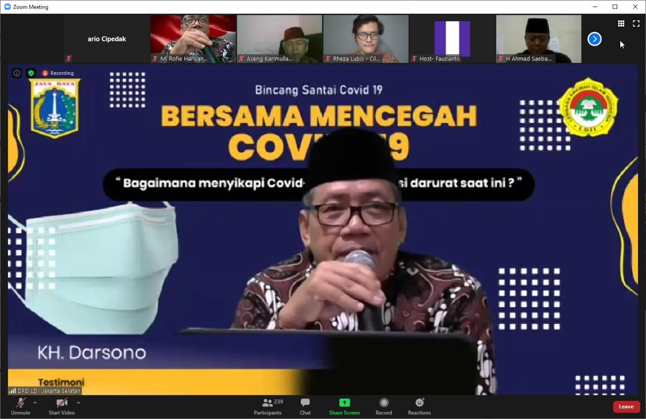 Diskusi 'Bersama Mencegah Covid 19' Digelar Pemkot Jaksel Bersama Generasi Muda dan DPD LDII