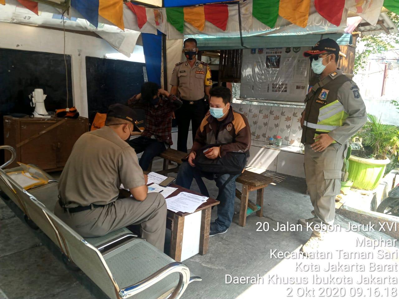 Ops Yustisi di Maphar Tamansari Petugas Jaring 6 Pelanggar Prokes