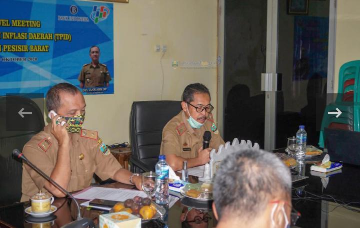 Meeting Tim Pengendalian Inflasi Daerah (TPID) Kabupaten Pesisir Barat Dengan Vidcon High Level