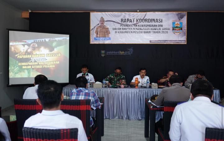 Pjs Bupati Pesisir Barat Hadiri Rakor Penanganan Konflik Sosial Kabupaten Pesisir Barat TA 2020