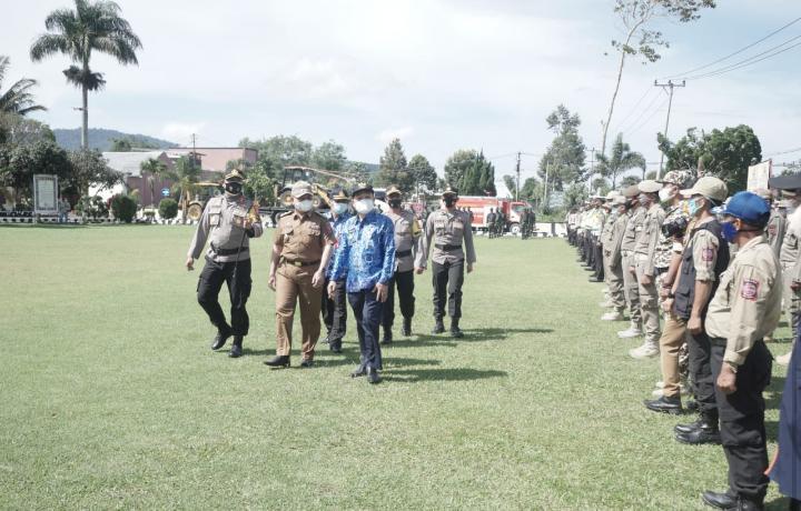 Kesiapsiagaan Penanggulangan Bencana di Lampung Barat, Pjs Bupati Pesibar Pimpin Apel Gelar Pasukan Siaga Bencana