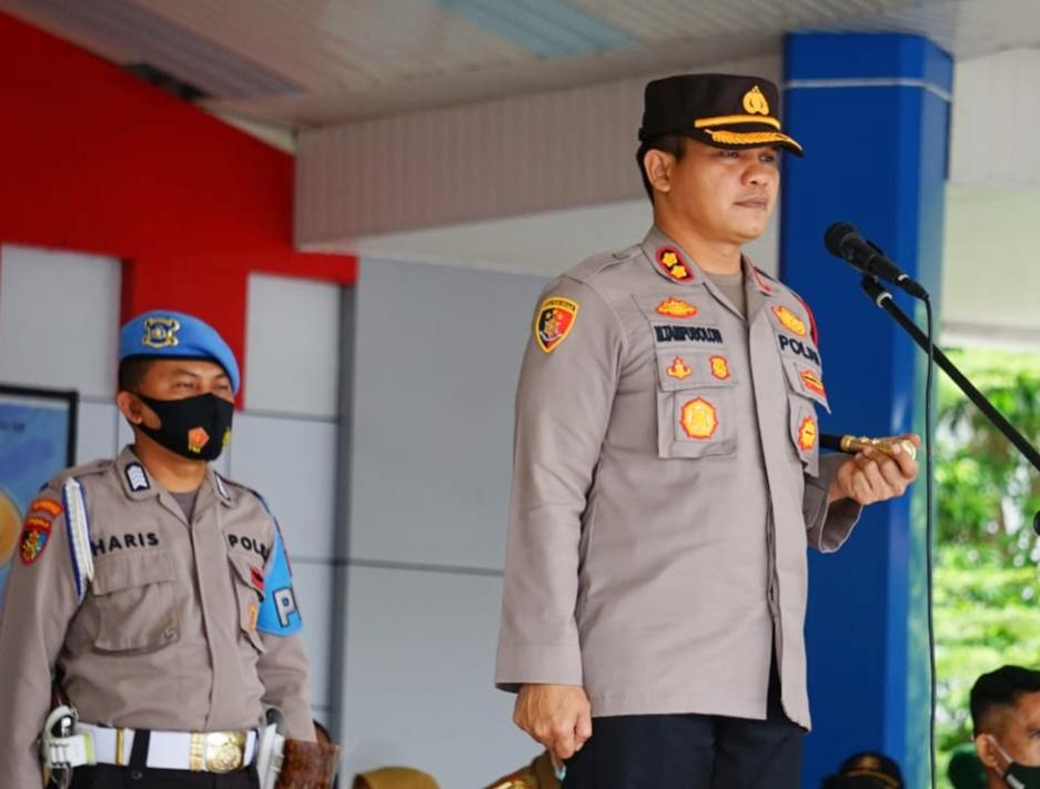 Kapolres Maros Pimpin Apel Pergeseran Pasukan ke TPS Pilkada Bupati dan Wakil Bupati Maros 2020