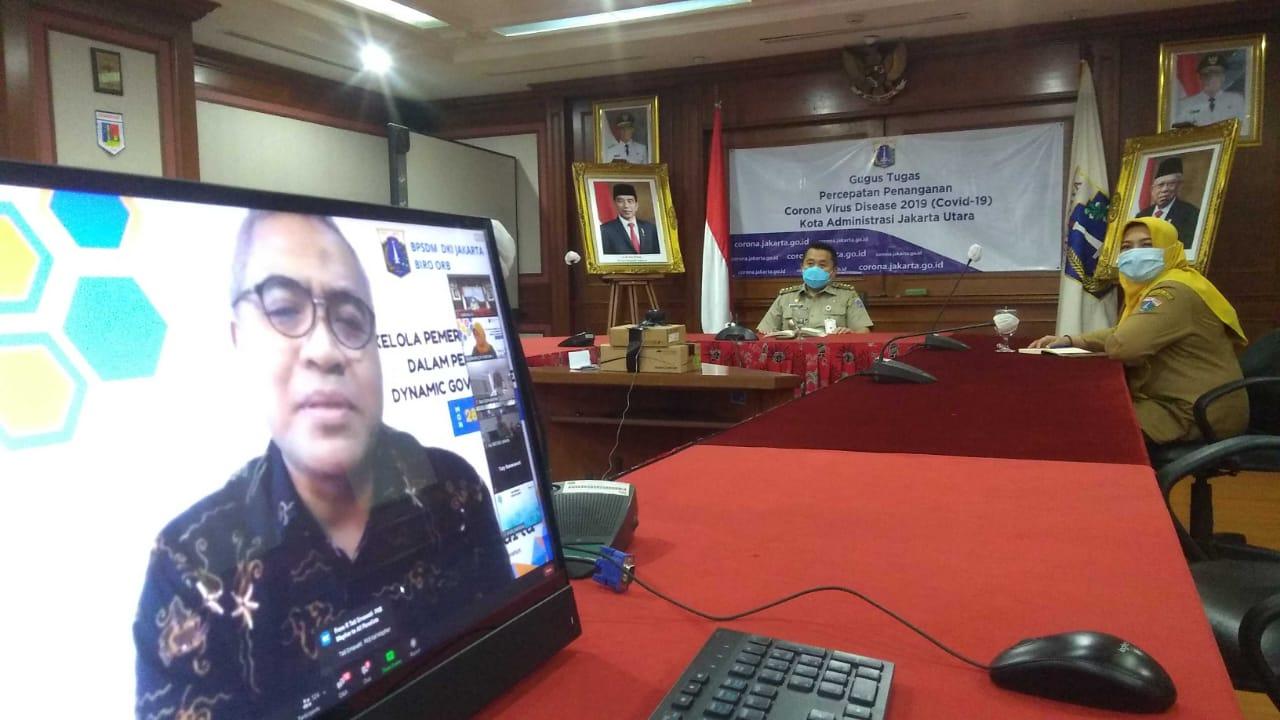 Walikota Jakut Ikuti Webinar Tata Kelola Pemerintahan Dalam Perspektif Dynamic Governance
