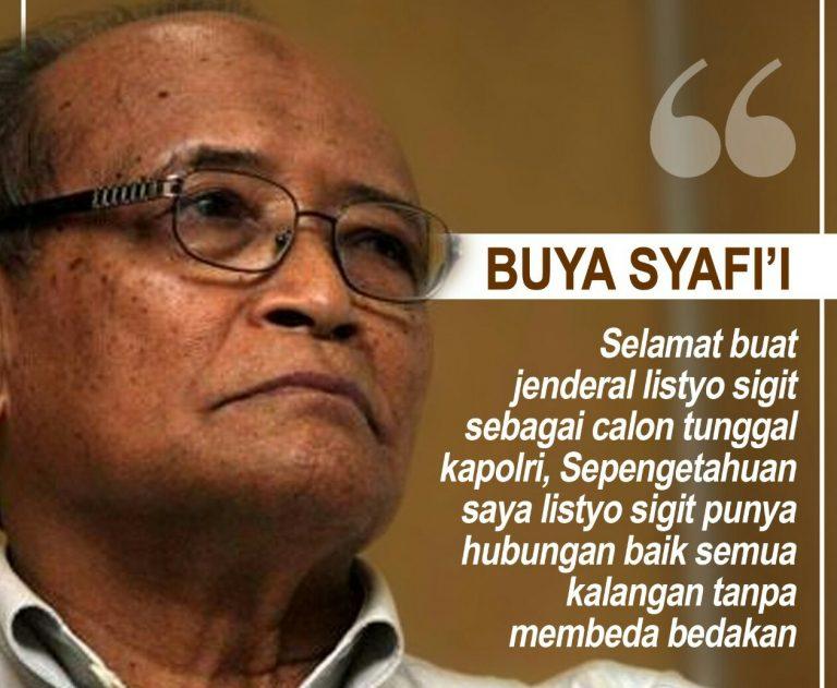 Buya Syafii Maarif Dukung Pengajuan Listyo Sigit Prabowo Calon Kapolri