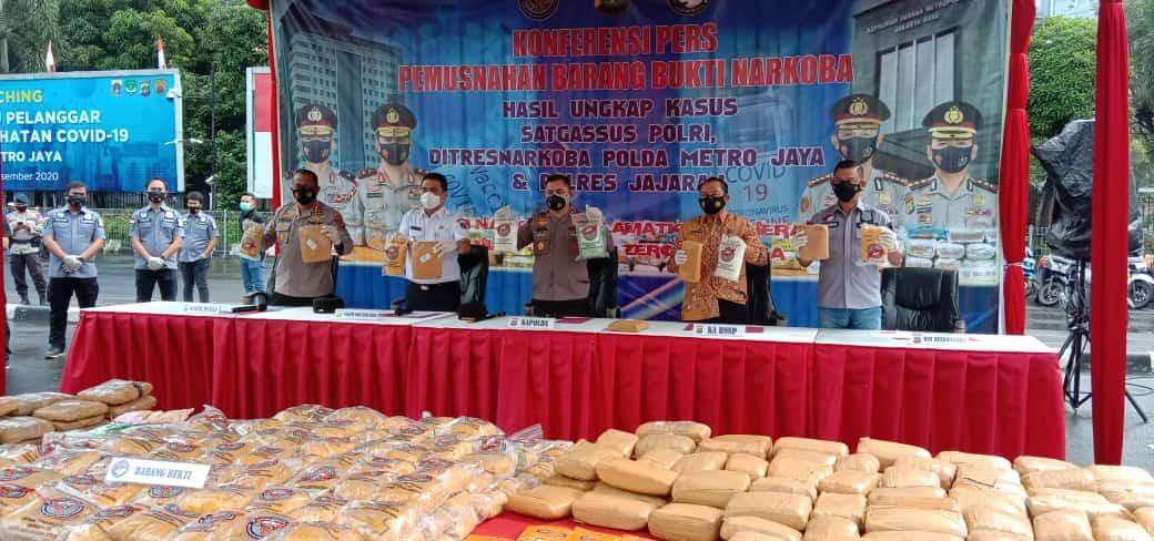 Barang Bukti Ratusan Kg Narkotika Kasus Selama 4 Bulan Dimusnakan Polda Metro Jaya