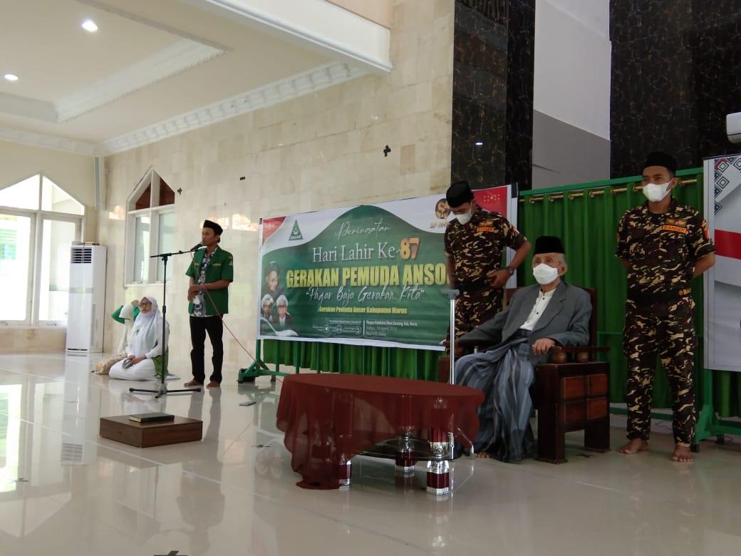 KH. Sanusi Baco Hadir Diperingatan Harlah GP Ansor ke-87 dan Harlah Fatayat NU ke-71 di Maros