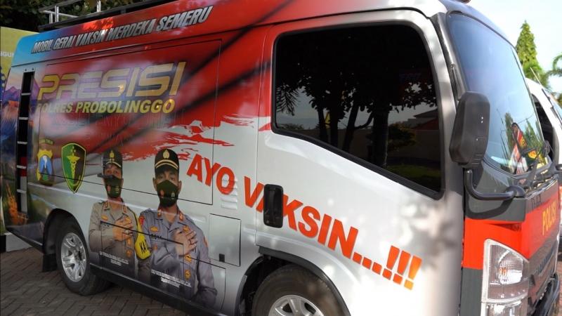 Percepat Herd Immunity' di Jawa Timur, Kapolres Probolinggo Luncurkan Mobil Gerai Vaksin Merdeka Semeru