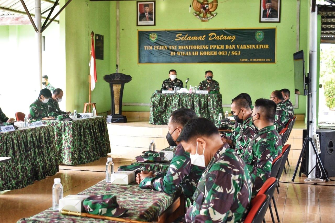Danrem 063/SGJ : Kunjungan Wasev Tim Itjen TNI Merupakan Atensi Besar Pelaksanaan Penanganan Covid-19